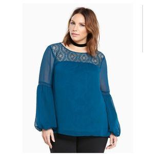 Torrid boho peasant blouse